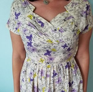Cotton Butterfly Pattern Vintage Dress with Fitted